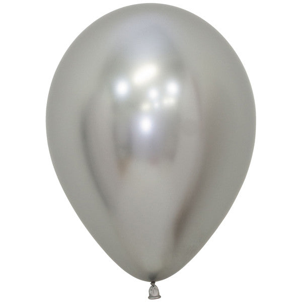 Silver shiny latex balloon.