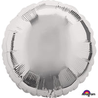 Silver round shaped foil balloon.