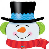 Smiling snowman balloon with black hat.