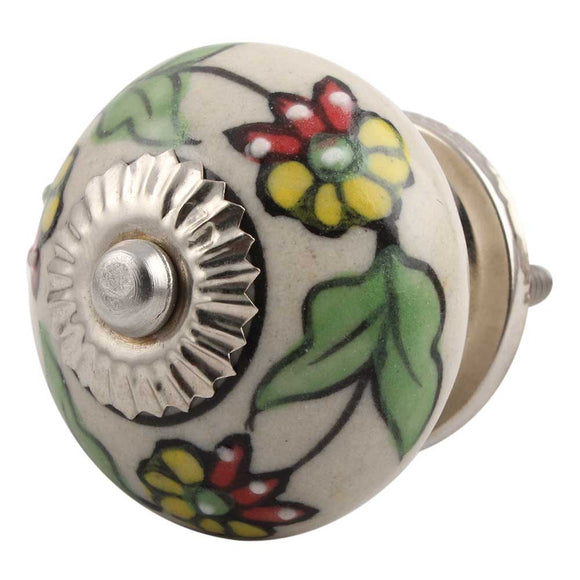 Pea Green Leaf Flower Ceramic Knob