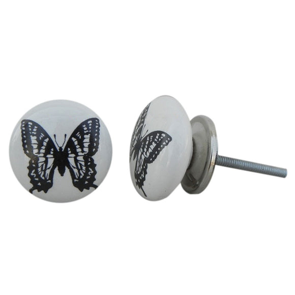 Black Butterfly Painted Knob