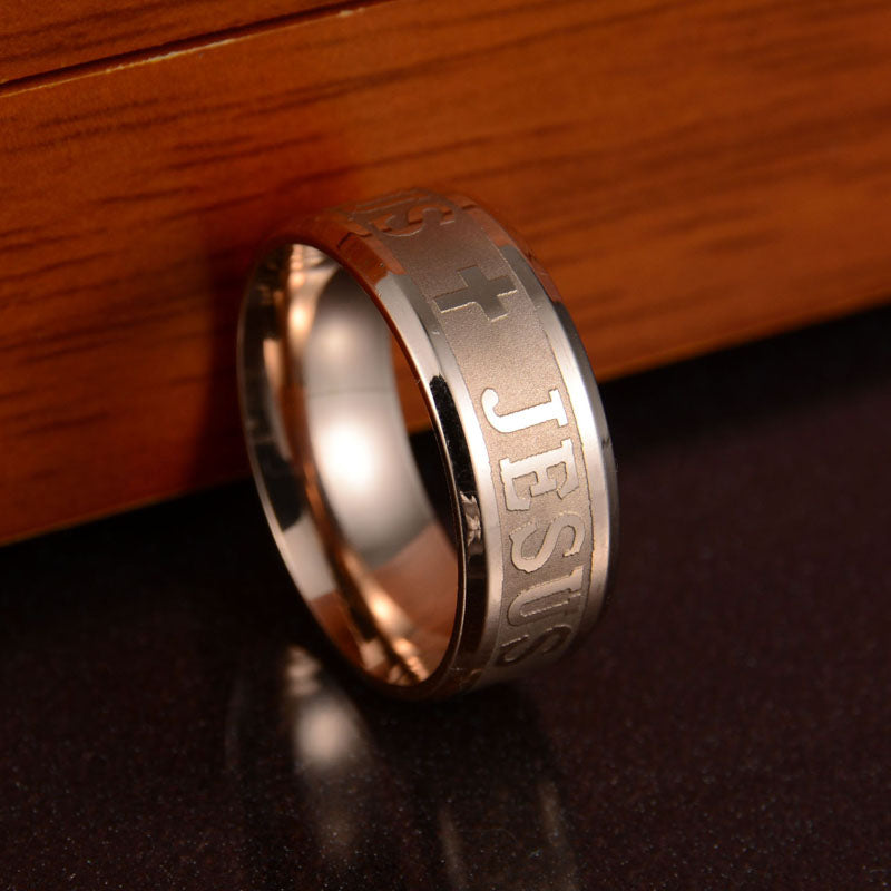 Stainless Steel Letter Bible Rings