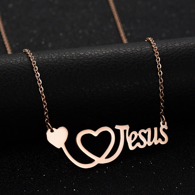I Love Jesus Stainless Steel Pendant