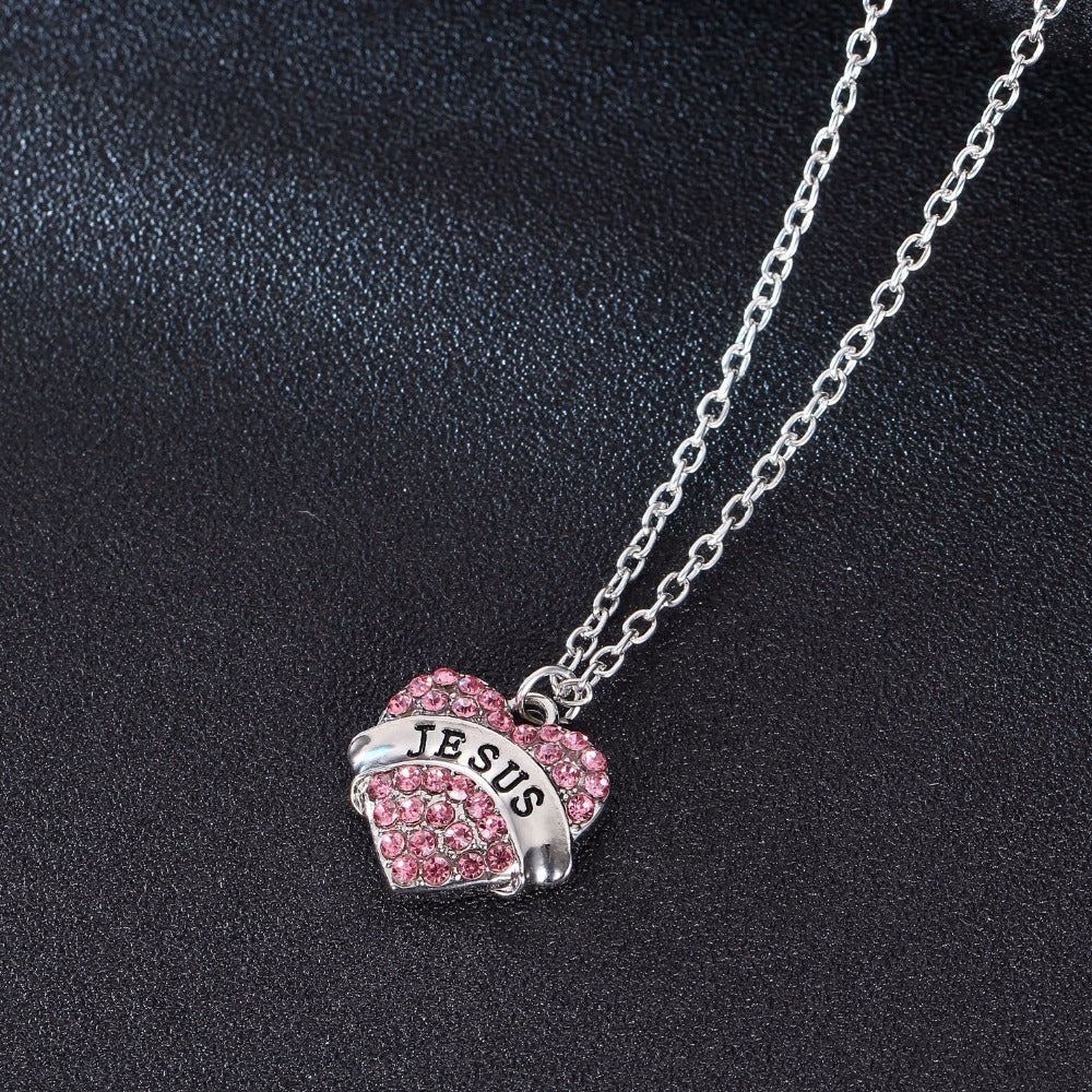 Crystal Love Heart Jesus Necklace