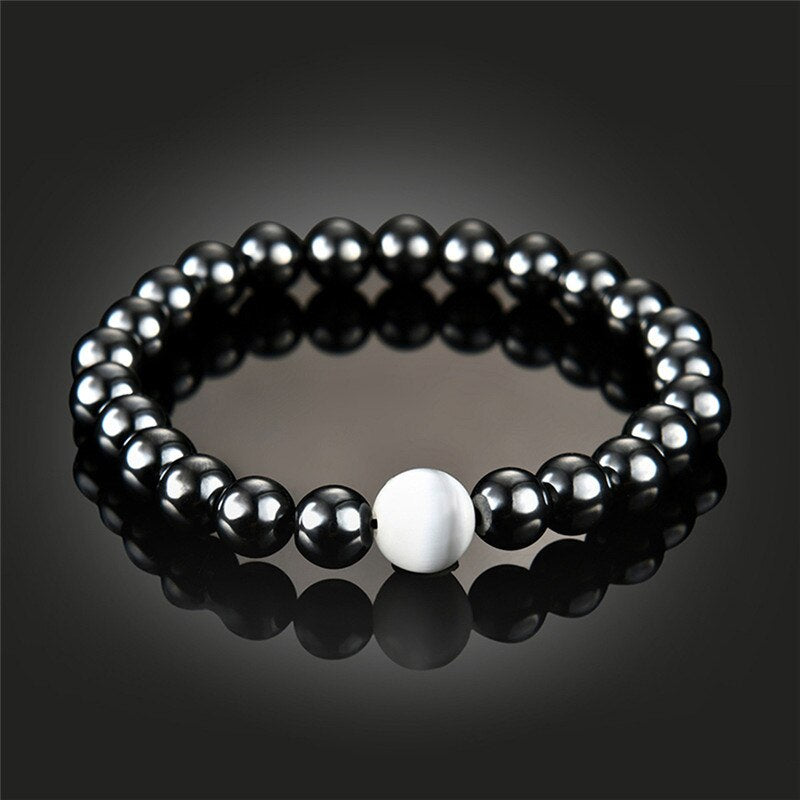 Weight Loss Round Black Stone Magnetic Therapy Bracelets
