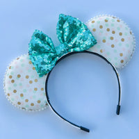 Mint and Gold Polka Dot Mouse Ears