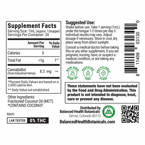Image of the product label of CBD Tincture