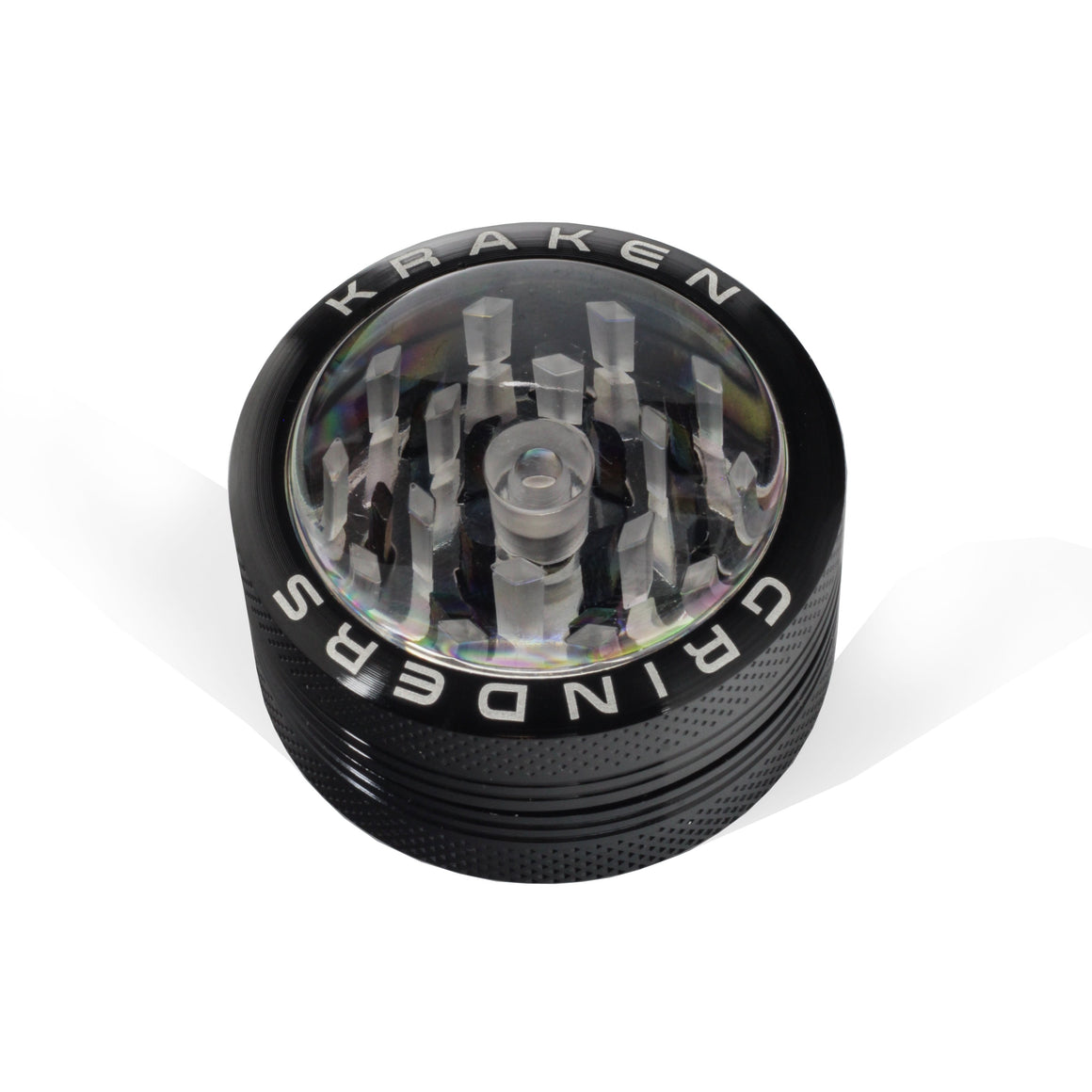 Image of a Black Kraken Grinder 2-Piece and clear top Closed