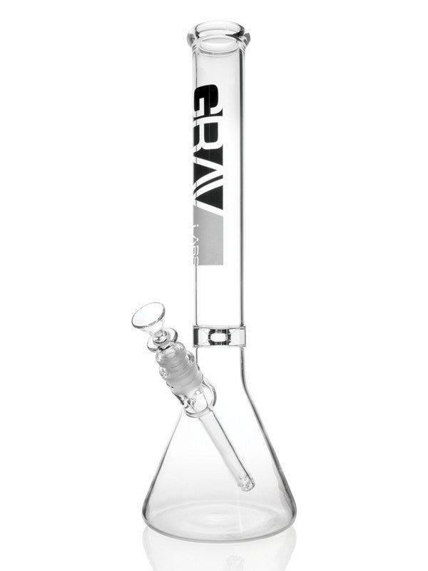 "Image of a 12"" Beaker Water Pipe with Ice Pinch - (Clear) by GRAV"