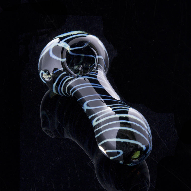 "4"" Inside-out slime cane and black frit spoon hand pipe by Glassheads"