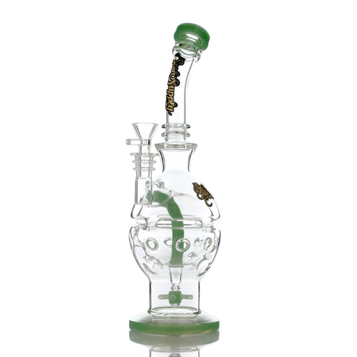 "Sesh Supply ""Circe"" Propeller Perc Fabrege Egg Water Pipe with Colored Glass Accents"