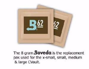 Image of Boveda packs that come with the CVault containers for humidity