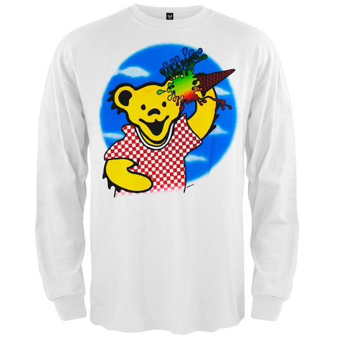 Grateful Dead - Ice Cream Bear White Long Sleeve T-Shirt