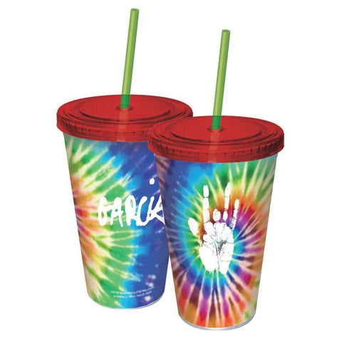 Jerry Garcia - Tie Dye Handprint Acrylic Tumbler With Straw