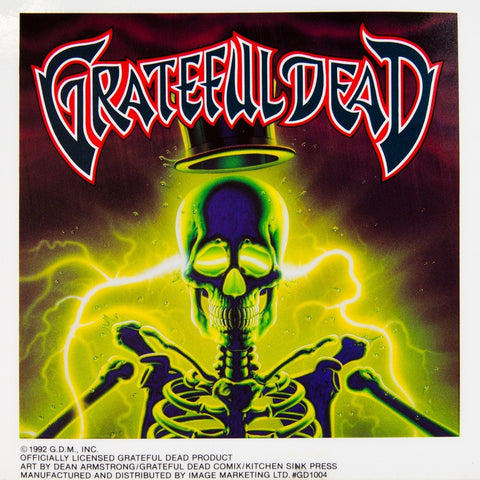 "Grateful Dead - Glowing Skeleton Cling-On Sticker 6"" x 6"""