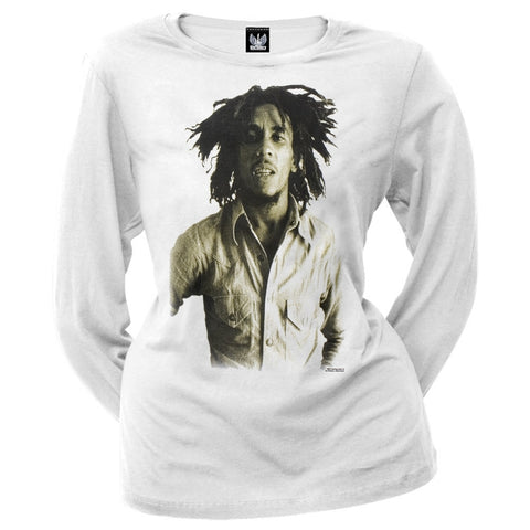 Bob Marley - Sepia Juniors White Long Sleeve T-Shirt