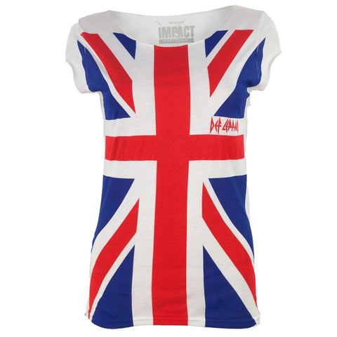 Def Leppard - Full Print Union Jack Sleeveless Juniors T-Shirt