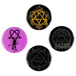 HIM - Heartagram Logos Set of 4 Pins