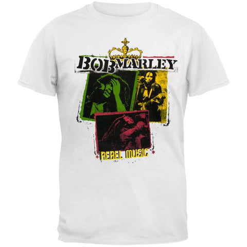 Bob Marley - Rebel Music Rasta Collage Adult T-Shirt