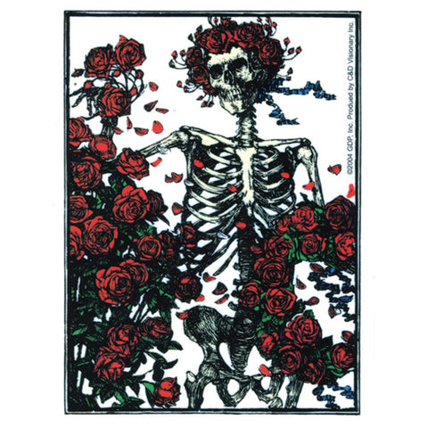Grateful Dead - Skeleton & Roses Clear Decal