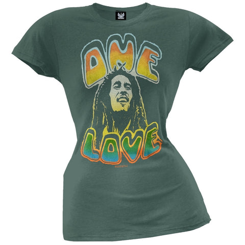 Bob Marley - One Love Green Juniors T-Shirt