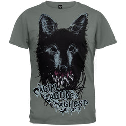 A Girl A Gun A Ghost - Wolf Teeth Adult T-Shirt