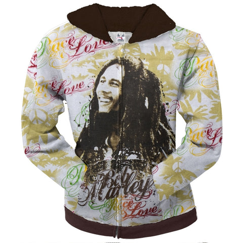 Bob Marley - Peace Flowers Juniors Zip Hoodie