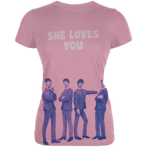 The Beatles - She Loves You Pink Juniors T-Shirt
