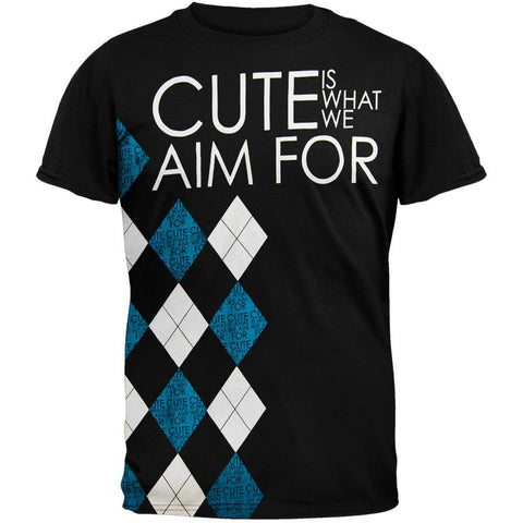 Cute Is What We Aim For - Black Argyle Soft T-Shirt