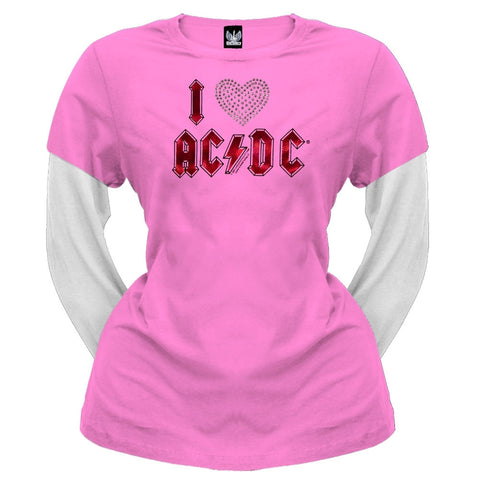 ACDC - I Heart ACDC Juniors 2Fer Long Sleeve T-Shirt
