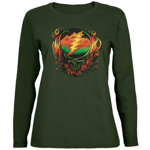Grateful Dead - Scarlet SYF Dark Green Juniors Long Sleeve T-Shirt