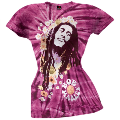 Bob Marley - Flowers Tie Dye Juniors T-Shirt
