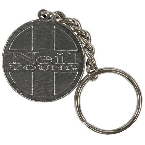Neil Young - Cross Circle Pewter Keychain