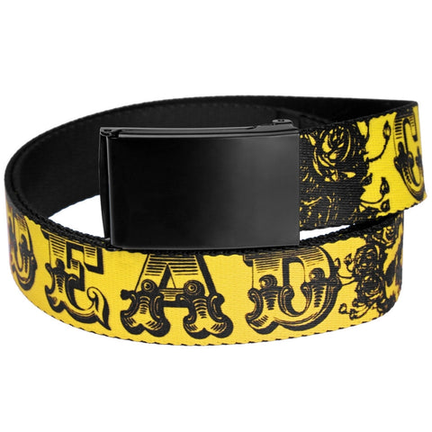 Grateful Dead - Skull And Roses Text Yellow Web Belt