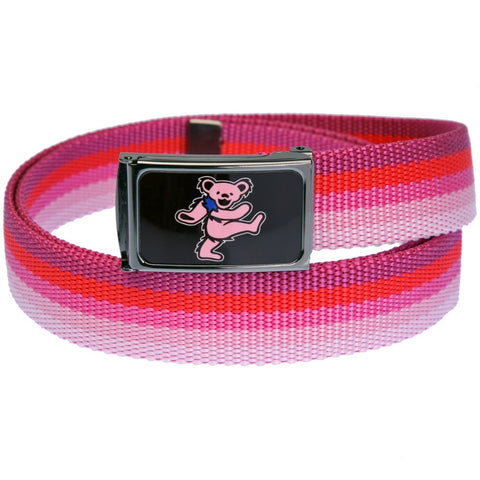 Grateful Dead - Pink Dancing Bears Pink Spectrum Web Belt