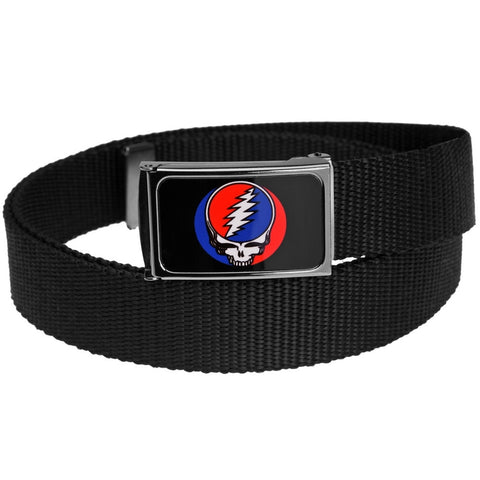 Grateful Dead - Full Color Steal Your Face Black Web Belt