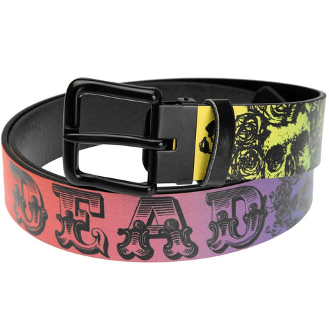 Grateful Dead - Skull And Roses Text Rainbow Fade Leather Belt