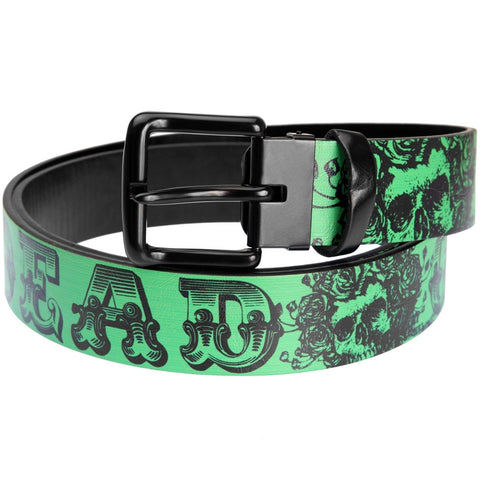 Grateful Dead - Skull And Roses Text Green Leather Belt