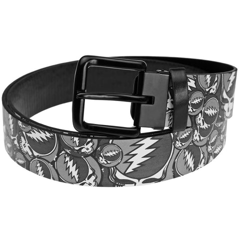 Grateful Dead - Steal Your Face Stacked Black and White Leather Belt