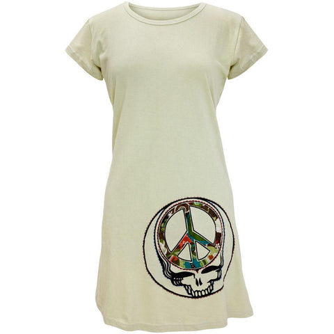 Grateful Dead - Peace Sign SYF Light Olive Juniors Cap Sleeve Mini Dress