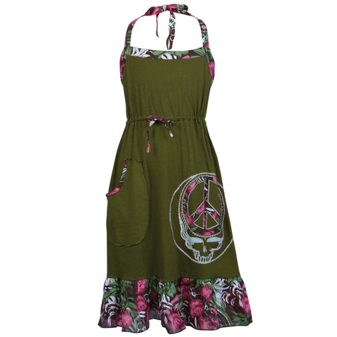 Grateful Dead - Peace Sign SYF Olive Juniors Short Dress