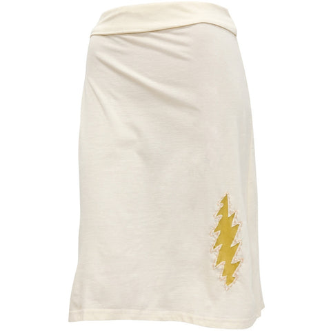 Grateful Dead - Lighnting Bolt Off White Women's Skirt