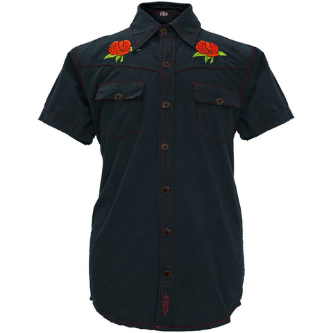 Grateful Dead - Bertha And Roses Dark Blue Button Down Shirt
