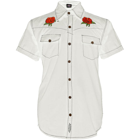Grateful Dead - Bertha And Roses White Button Down Shirt