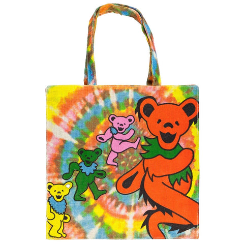 Grateful Dead - Rainbow Spiral Bears Jute Tote Bag