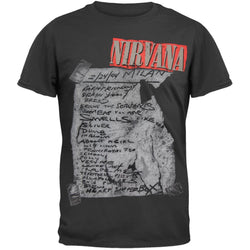 Nirvana - Milan Set List T-Shirt