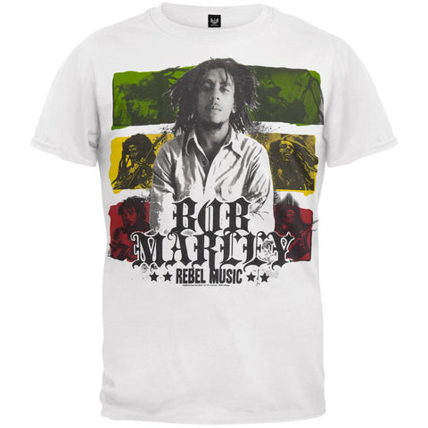 Bob Marley - Rebel Music Rasta Flag T-Shirt