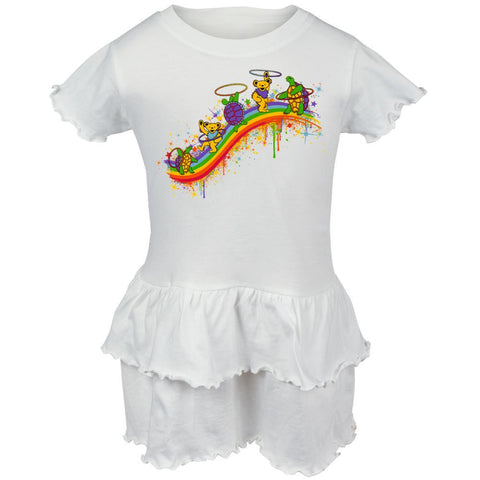 Grateful Dead - Rainbow Hoopers White Toddler Ruffle Dress