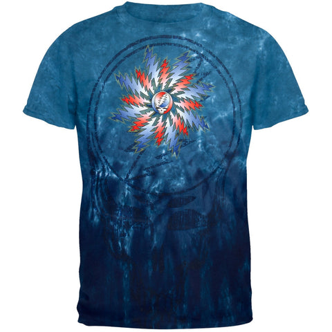 Grateful Dead - Large Distressed Flower Steal Your Face Tie Dye T-Shirt