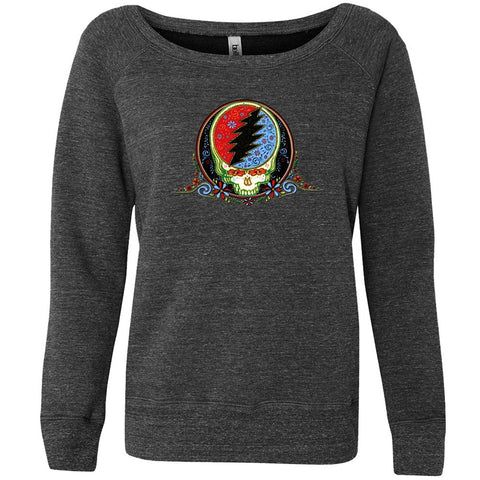 Grateful Dead - Calaveras Grey Off-Shoulder Juniors Sweatshirt